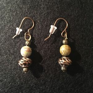 Bronze with Sage Green Stone Earrings